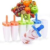 IKICH GDKCCP202AC-FRVV1 Plastique, 6 Sucettes Esquimaux avec Attaches pour Combinaison, Couvercle Anti-Déversement, Moule À Popsicle sans Bpa, pour Fruit, Glaces, Enfants, Blanc, 6 Pack