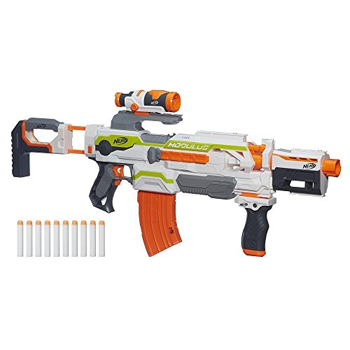 Nerf Modulus ECS-10 Motorized Blaster -- Create More Than 30 Blaster Combinations -- Scope, Grip, Barrel, 10-Dart Clip, 10 Nerf Elite Darts