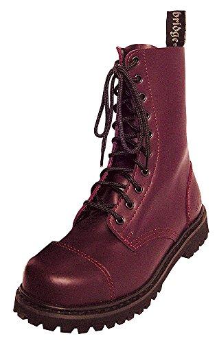 10 Buchi Rangers Stivali con Cappa in acciaio Colore Nero o Bordeaux Lacci da scarpe, Rosso...