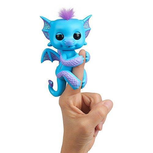 WowWee Fingerlings Drache blau mit lila Glitzer Tara - 3581 / interaktives Spielzeug, reagiert auf Geräusche, Bewegungen und Berührungen