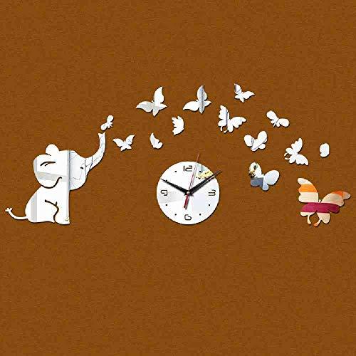 JPDP Venta Acrílico Reloj de cuarzo Reloj de pared Bebé Elefante Mariposas Arte Mordern Diseño Diy 3D Espejo Pegatina Decoración,Silver