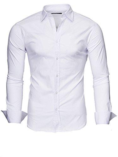 c3c75b49ab3d Kayhan Originale Uomo Camicia Slim Fit Facile Stiro Cotone Maniche Lungo S  M L XL XXL 2XL -Modello Uni New