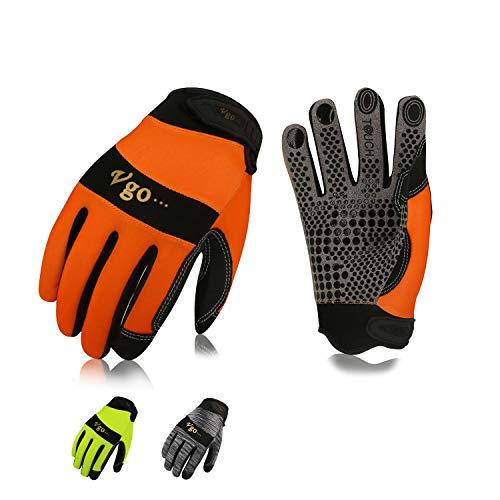 Vgo Guanti, 3 paia, guanti da lavoro uomo in pelle, guanti da meccanico, giardino, multifunzione...