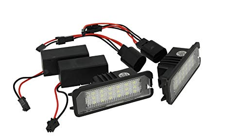 CARALL Kit Luci Targa Led Con 18 Smd Canbus No Errore Resistenza Inclusa Bianco 12V 5W (2 luci led +...