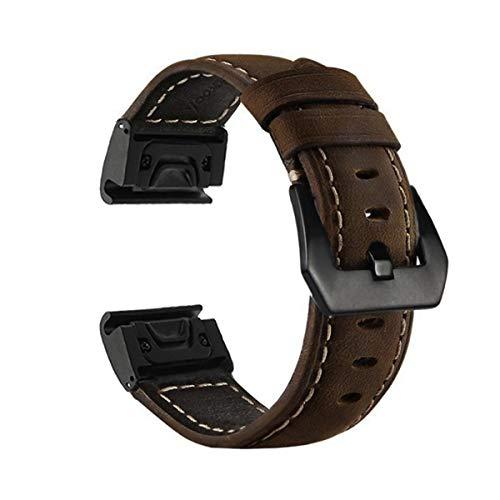 YOOSIDE Cinturino per Fenix 5X / 5X Plus, 26mm Quick Fit in Metallo Acciaio Inossidabile con Cinturino in Vera Pelle per Garmin Fenix 5X/5X Plus,Fenix 3/3 HR, Tactix Bravo/Charlie,Quatix 3 (Marrone)