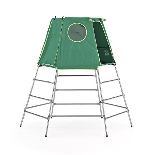 With an extendable height and slim profile, this climbing frame is for both tots and older kids. A full coverage den with windows and roll-up doors is the major selling point of this budget model. Steel frame is guaranteed for five years against rust failure, so the long-term value is practical.