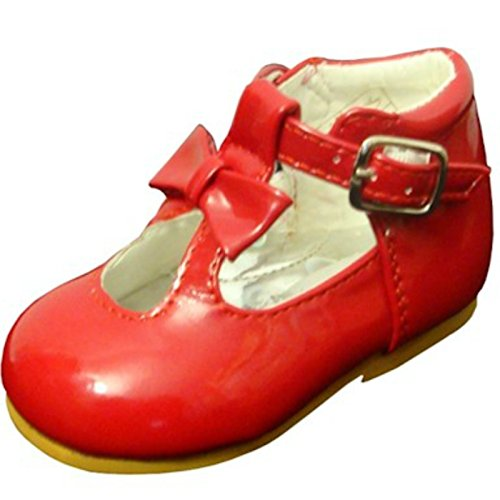 Scarpine da bambina, scarpe lucide in pelle verniciata, con fiocco in stile spagnolo. Scarpine per feste e matrimoni. Scarpine primi passi, antiscivolo. 21201, Rosso (Red), 19 EU Bambino