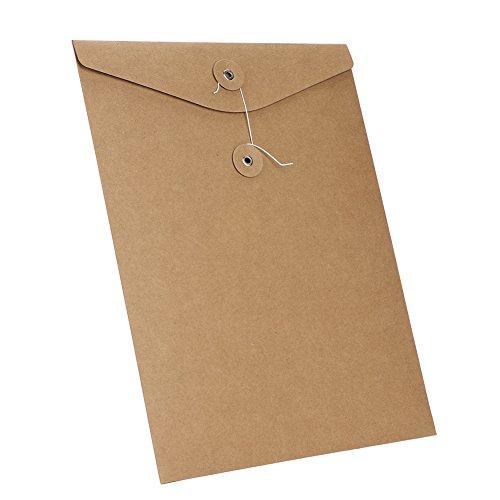 Ordner aus Kraftpapier Dokumentemappe A4 Postmappe Set mit 10 Stück Ordnungsmappe für Büro Zuhause Schule Dokumententasche BriefordnerDateien Mappen Paket Organizer Hellbraun