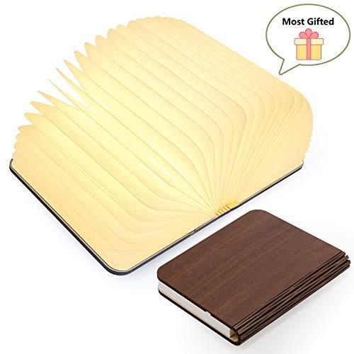 lampade libro USB ricaricabile pieghevole in legno magnetico LED Light del libro di lamp - 4 colori...
