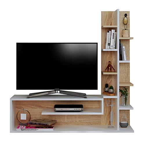 Glory Set Soggiorno - Parete Attrezzata - Mobile TV Porta con mensola in Moderno Design (Bianco -...