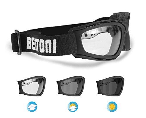 Gafas Fotocromaticas para Moto y Deportes Extremos - Lentes Antivaho by Bertoni Italy - F120A negro mate.