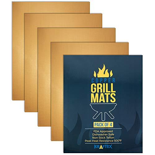 Kraftex tappetini per griglia in rame, confezione da 4. Antiaderente per barbecue, gas, forni e cottura. Approvato dalla FDA, antiaderenti e resistenti al calore, riutilizzabile e facile da pulire.