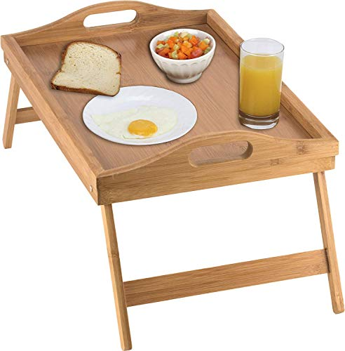 Worthy Shoppee Wooden Foldable Breakfast Tray, Serving Tray with Folding Legs, Bed Table & Dinner Tray, Bed Study Table Laptop Desk Stand