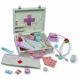 6113 Valigetta del dottore in legno small foot in legno, con termometro per la febbre, stetoscopio,