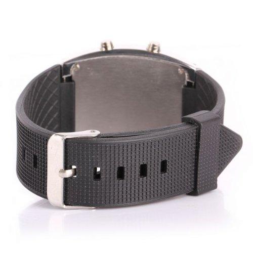 Fashion Aviation tachimetro LED blu orologio da polso argento quadrante nero