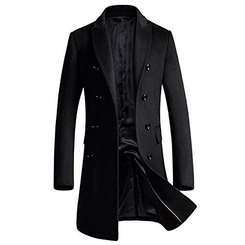 YOUTHUP Cappotti da Uomo Slim Fit Lana Cappotto Spesso Inverno Trench Cappotto Casual pavoni Nero 1721 XS