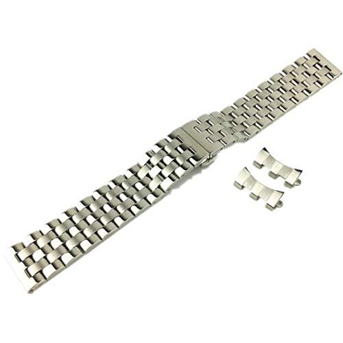 Mnoble Cinturino per Orologio in Acciaio inossidabile Solido Arco Cinque Perline Accessori per 18mm 20mm 21mm 22mm (18mm, Argento)