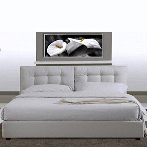 Bagno Italia Letto Matrimoniale 220x174 in Ecopelle Bianco Moderno a Due piazze con Rete a doghe I