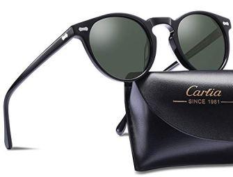 Carfia-Gafas-de-Sol-Polarizadas-mujer-hombre-Retro-Estilo-gafas-UV400-gafas-de-sol-para-conducir-viajes-playa-Marco-Negro-Con-Lente-Verde