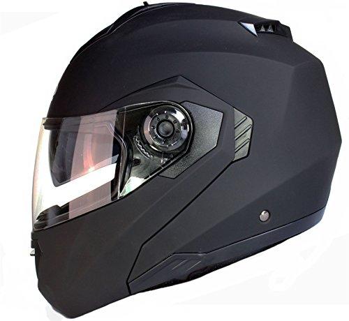 Qtech Klapp Motorradhelm mit DOPPELVISIER/Sonnenblende - Matt Schwarz - XL (61-62cm)