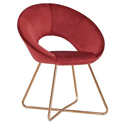 Duhome Sedia da Sala da Pranzo in Tessuto (Velluto) Rosso Sedia di Sala d'attesa conferenza Design Straordinario con Piedini in Metallo Sedia Imbottita Selezione Colore 439D