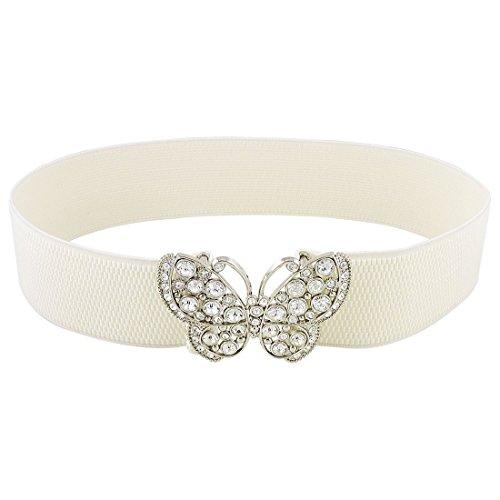 SODIAL (R) Mujeres Rhinestones gancho acento mariposa hebilla cincha elastico cintura cinturon blanco
