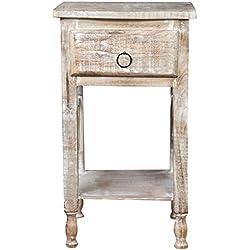 Tavolino comodino Shabby in legno massello finitura bianca anticata L31xPR28xH55 cm
