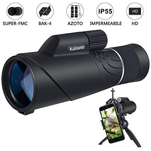 Kalawen Telescopio Monoculare 10-20x50 con Zoom Monocolo Professionale Potente Impermeabile BAK4...