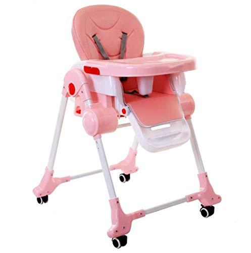 QKDSA Tavolo da Pranzo Pieghevole for Bambini seggiolone Portatile Pieghevole for Bambini 0-12 Anni (Color : Pink)
