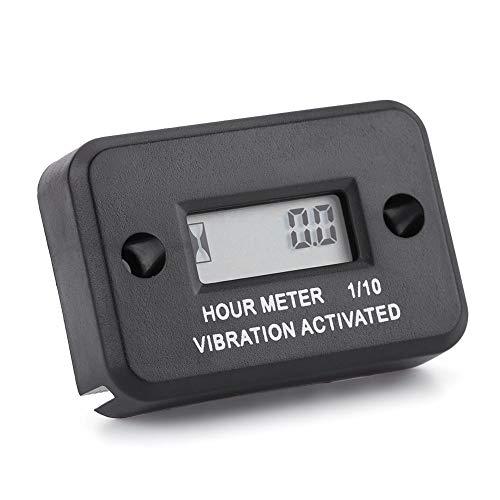 Digital Vibration Hour Meter Pantalla LCD digital a prueba de agua(Negro)