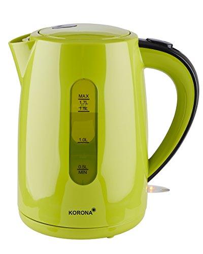 Korona 20133 Wasserkocher mit 1,7 Liter Fassungsvermögen in grün - Leistungsstarker Kocher mit einer 360° Basisstation