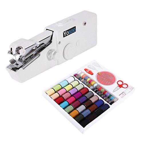 Mini macchina da cucire portatile manuale + scatola 64rocchetti A per cucito tessuto fine (tessuto...