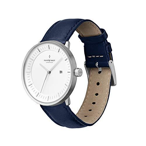 Nordgreen Philosopher Skandinavische Klassische Uhr in Silber Analog Quarzwerk 36mm (M) mit Lederarmband in Navyblau 10081