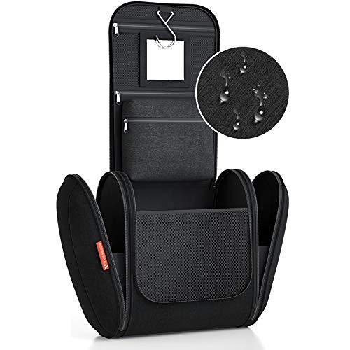 Kulturbeutel XXL [8 Liter Stauraum] Kulturtasche für Männer und Frauen [DESIGN 2019], Kosmetiktasche für Mann und Frau, Waschtasche, Waschbeutel zum Aufhängen für Damen & Herren (schwarz)