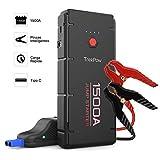 ABOX TrekPow Arrancador de Coches G22, 1500A Jump Starter con USB de 3.0 Puertos de Carga Rápida - para 6.5L de Diesel o 8.0L de Gasolina, 3 Modos de Linterna LED