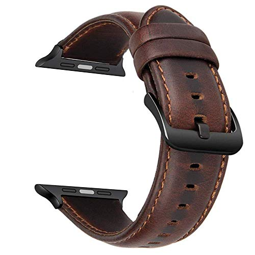 CASE U Watchband Genuine Leather Strap 42mm for Apple iwatch Series 4 3 2 &1 and Compatible with Apple Watch Series 4 & Series 5 44mm (Dark Brown)