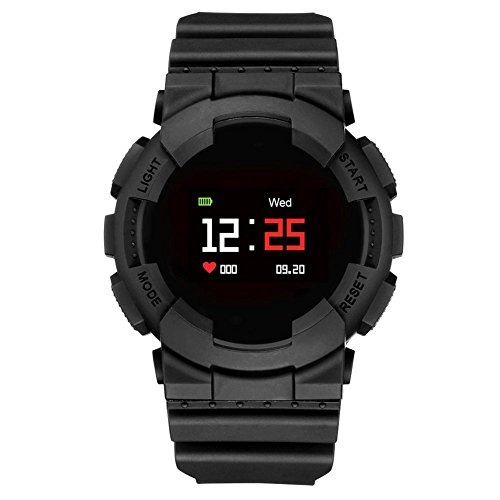 MX IP68 Waterproof Continuous Heart Rate Blood Oxygen Monitor Watch(Black)