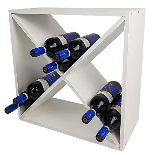 SunDeluxe Portabottiglie di Vino Bacchus X-Cube - Cantinetta portabottiglie in Legno di Pino 52 x 52...