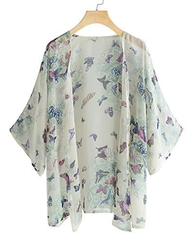 SUNNYME - Kimono de Verano para Mujer, Estilo Informal, Suelto, de Gasa, para Playa, Blusa, Chal, cárdigan Talla Grande A-Butterfly Print S