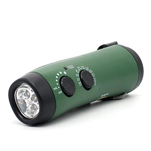 Leoie Multi-Function Outdoor Emergency Plastic Flashlight Radio Hand Crank Power Charging Green