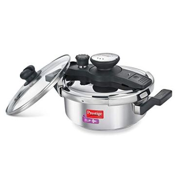 Prestige Clip On Stainless Steel Pressure Cooker with Glass Lid, 3 Litres, Silver 2
