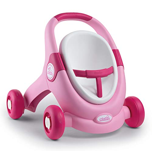 Smoby 210205 - Passeggino per Bambole 3 in 1, per Bambini dai 12 Mesi in su, Colore: Rosa