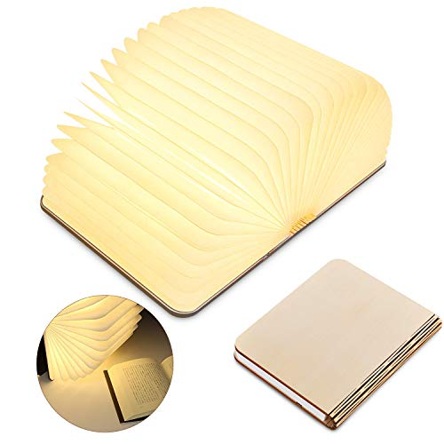 Pieghevole Lampade Libro, USB Ricaricabile in legno LED Luce Notturna, Design magnetico, 2500mAh...