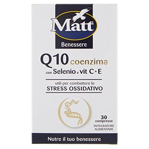 Matt&Diet - Compresse Q10 Coenzima Selenio Ace con Vitamina C ed E - Contrastano Stress Ossidativo - 30 Capsule - 12 gr