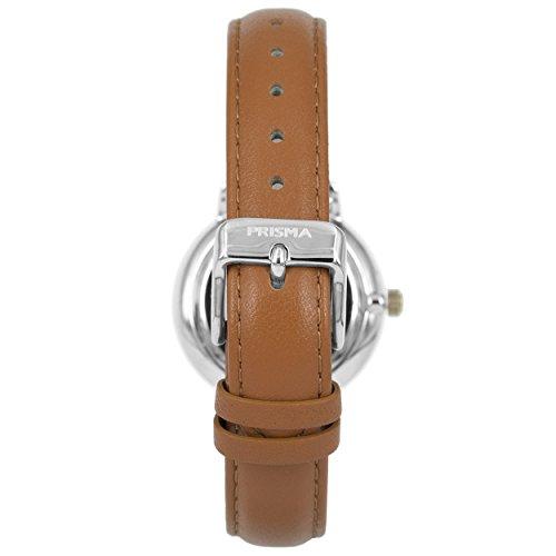 Prisma Damen Armbanduhr Retro Corum, Edelstahl silber mit Analog Quarzwerk, 5 ATM und Saphirglas P.1440 - 3