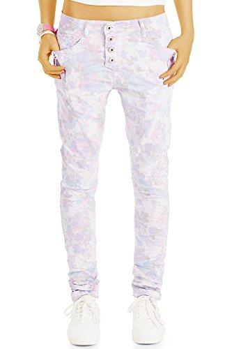 bestyledberlin Damen Baggy-Jeans Blumenmuster, Hüftige Relaxed Fit...