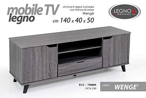 TC Mobile Porta TV in Legno truciolato wengè 140 * 40 * 50 cm con 2 Ante 1 cassetto e 2 Ripiani...