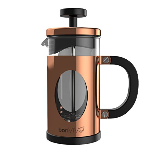 bonvivo GAZETARO I Caffettiera French Press (Caffettiera Pressofiltro) di Design in Acciaio Inox e...