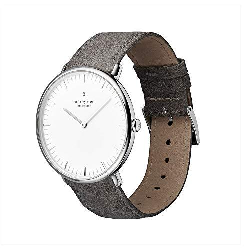Nordgreen Native Skandinavische Klassische Uhr in Silber Analog Quarzwerk 40mm (L) mit Lederarmband in Grau 10065