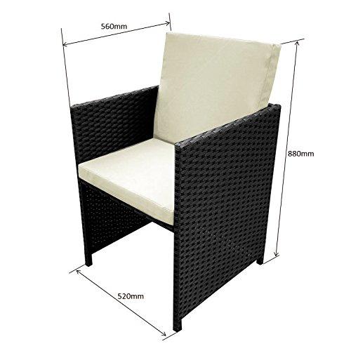 Poly Rattan Essgruppe Rattan Set mit Glastisch Garnitur Gartenmöbel Sitzgruppe Lounge (4 Stühle, Schwarz) - 2